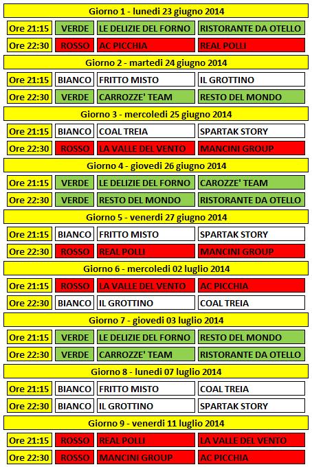 Calendario completo SL4U 2014